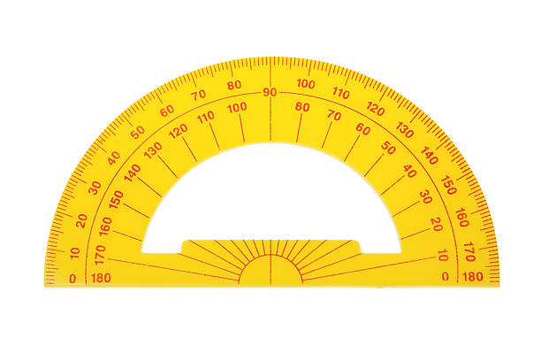 Protractor architect on a white background. stock photo