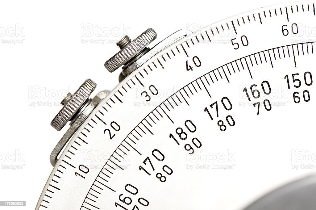 Protractor of drawing ruler on white royalty-free stock photo