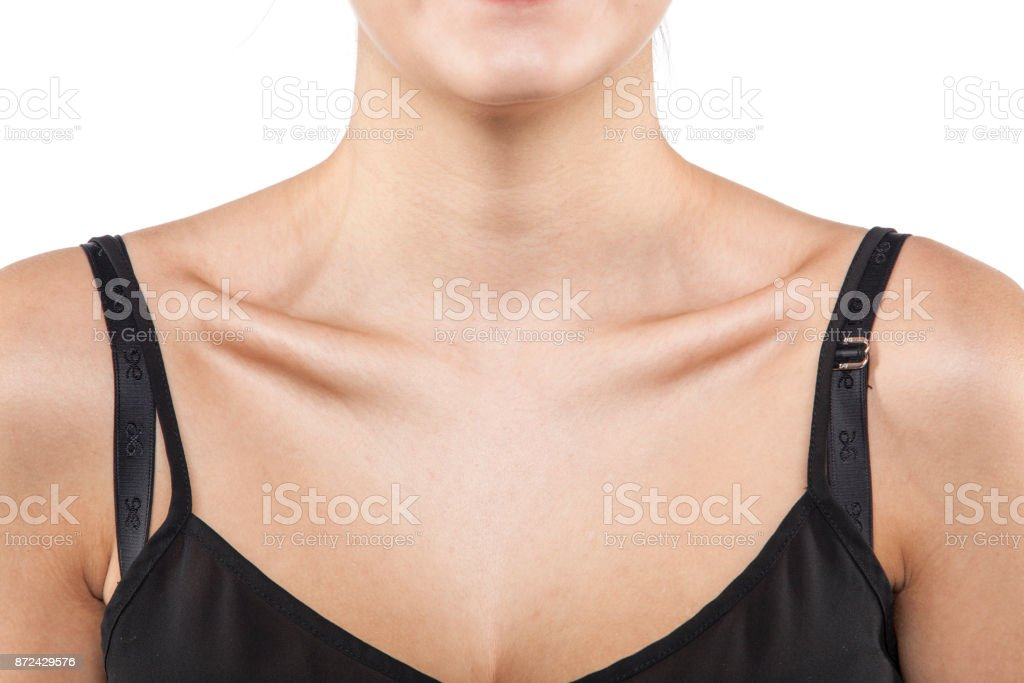 Protruding bones in a slim girl stock photo