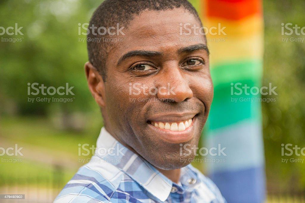 Proud African gay man stock photo