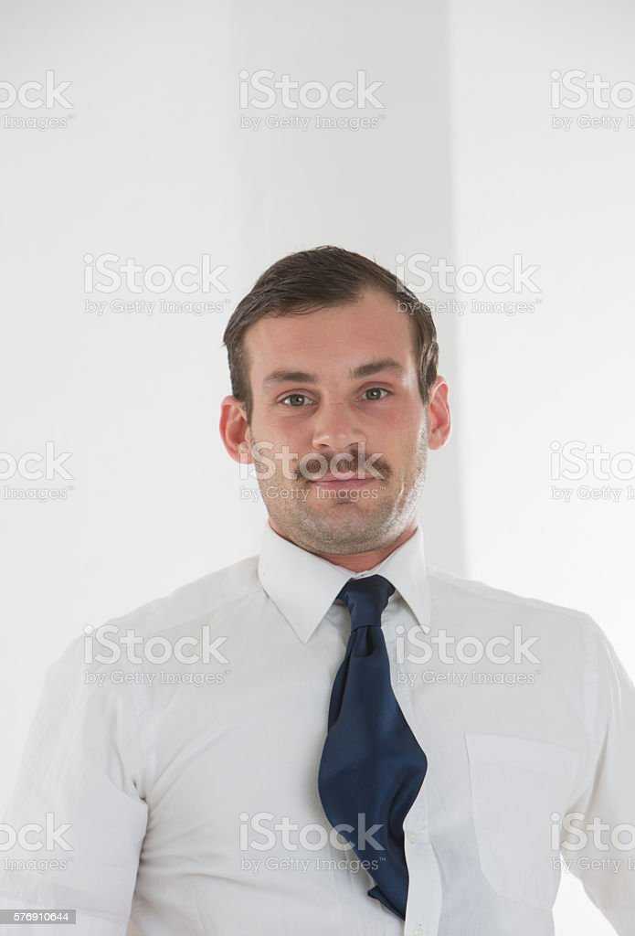 Proud and beautiful businessman in shirt and tie stock photo