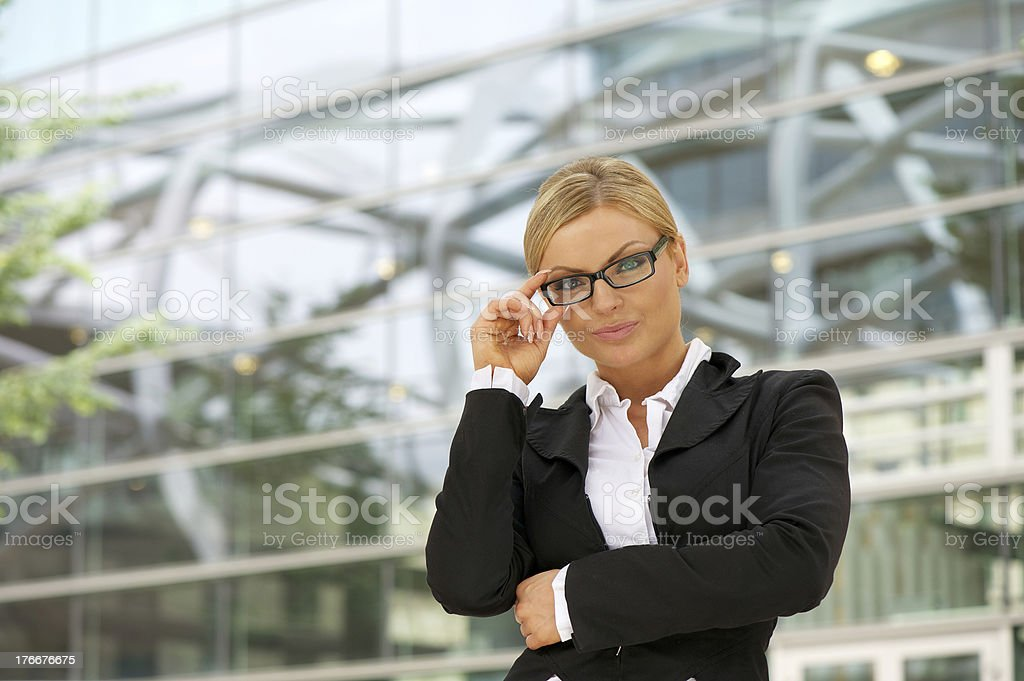 Proud business woman in glasses royalty-free stock photo