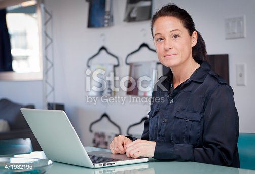 istock Proud Businesswoman At Home Office Using Laptop 471932195