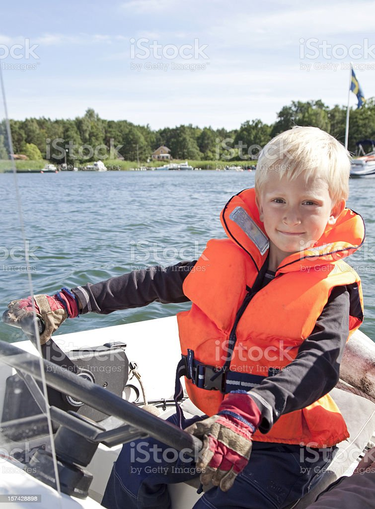 Proud captain of the boat. Stockholm Archipelago royalty-free stock photo