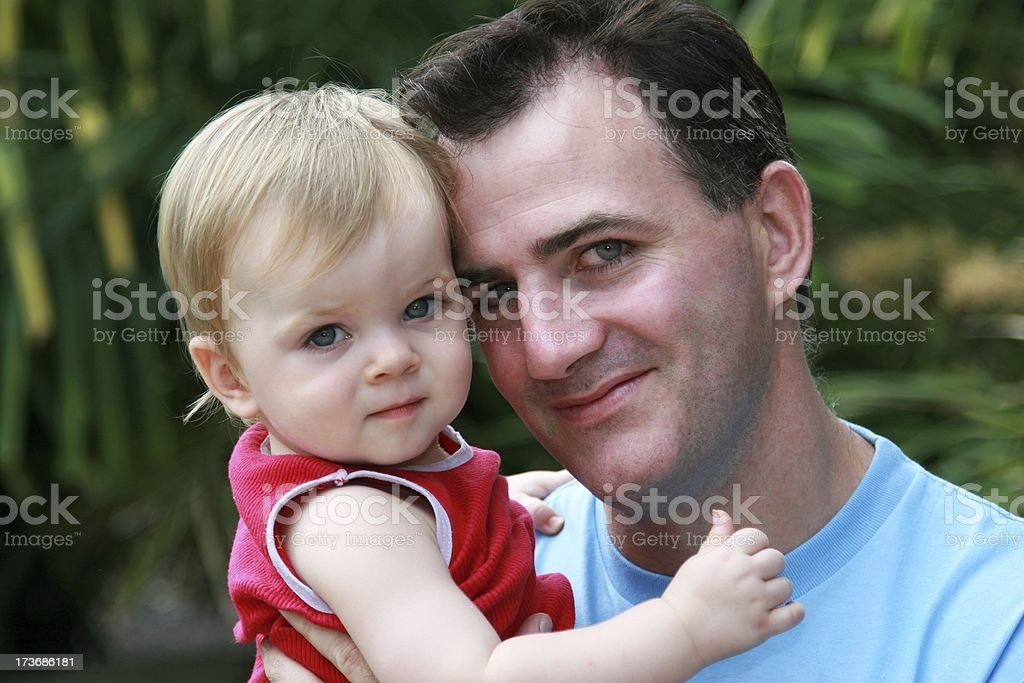 Proud Dad with son outdoors closeup royalty-free stock photo