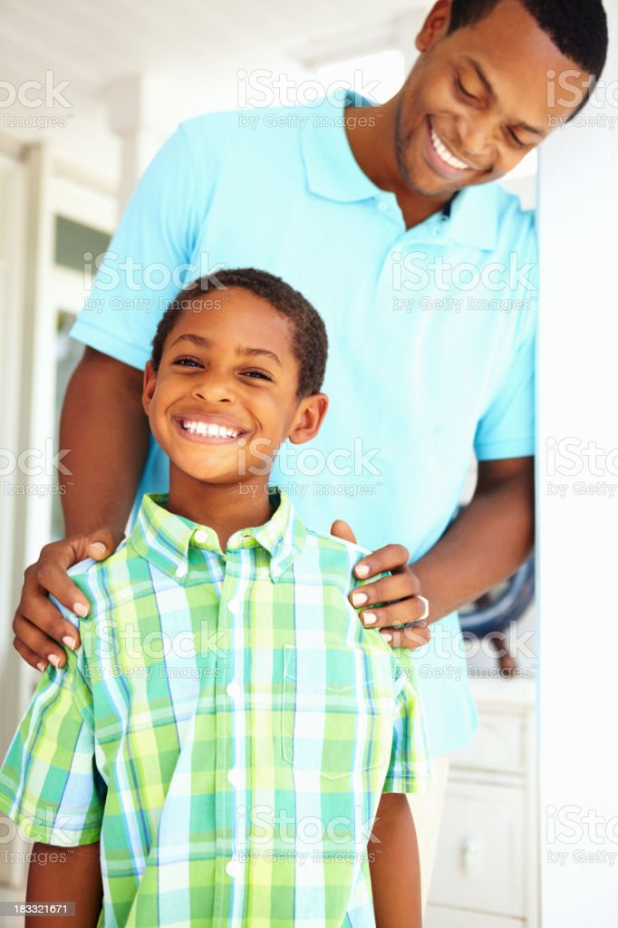 Proud dad with son royalty-free stock photo