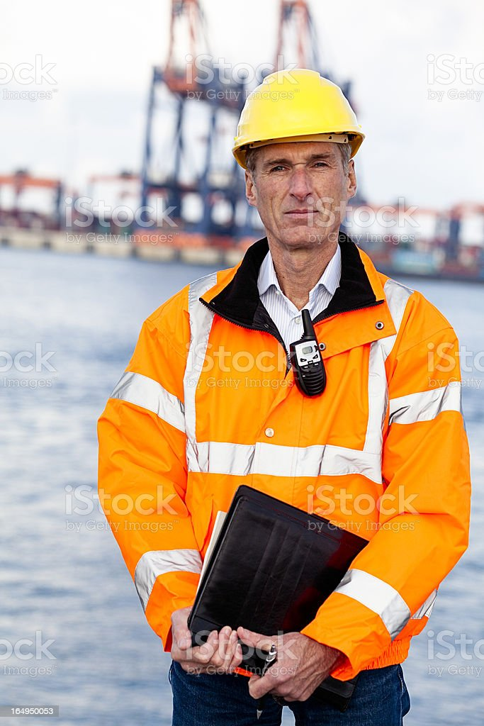 Proud dock worker royalty-free stock photo