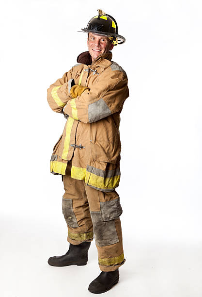 proud firefighter stock photo