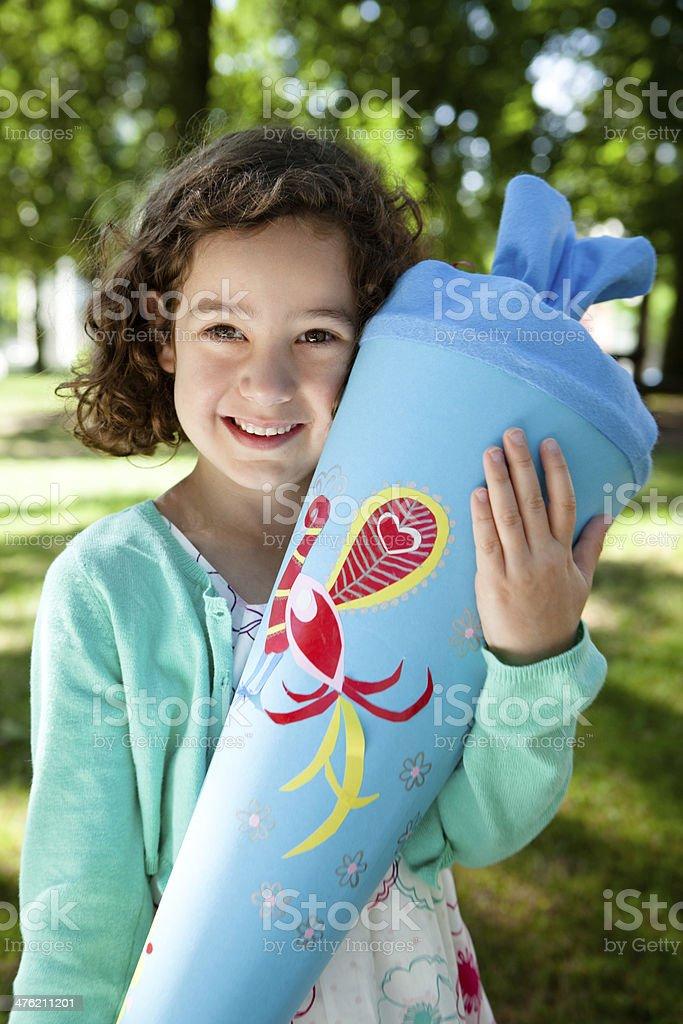 proud first grader with schultüte (or zuckertüte) royalty-free stock photo