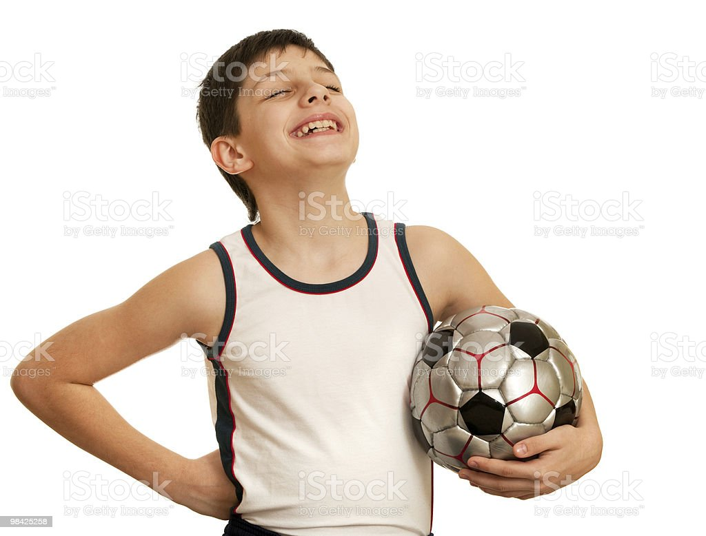 Proud for the first soccer victory boy royalty-free stock photo