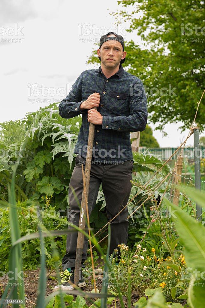Proud gardener at his allotment. royalty-free stock photo