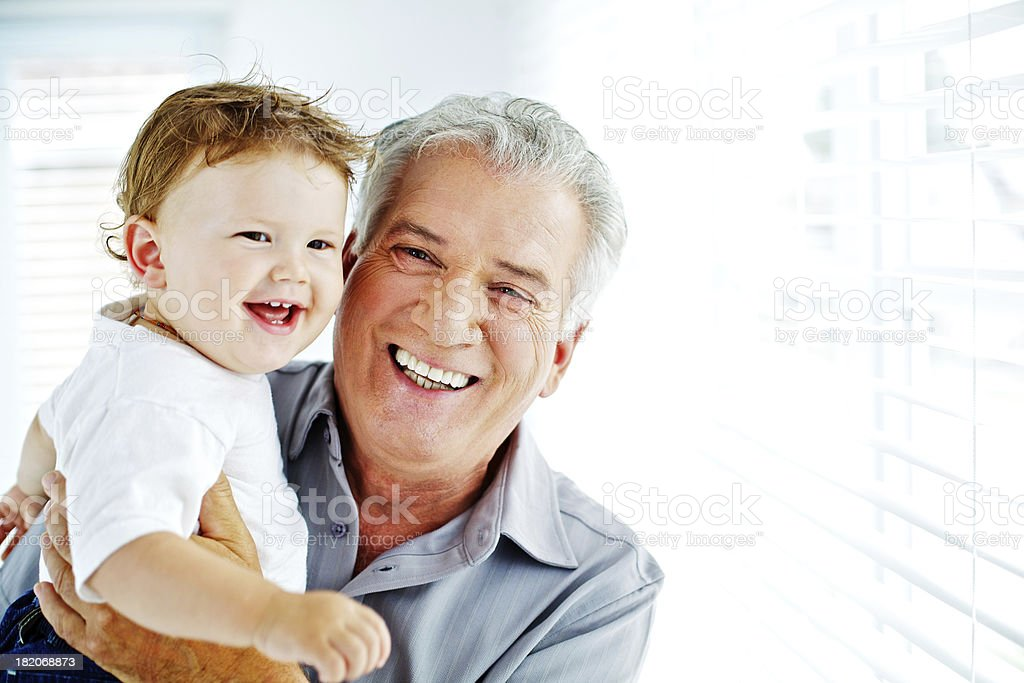 Proud grand-father and happy little son royalty-free stock photo