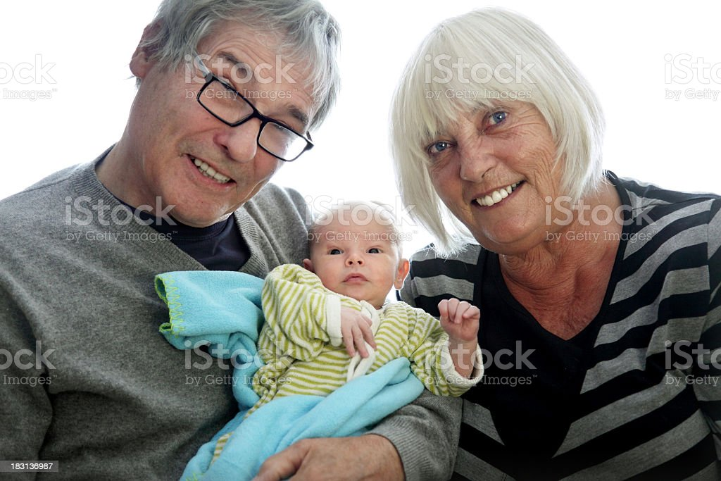 Proud Grandparents with 10 days old Grandson royalty-free stock photo