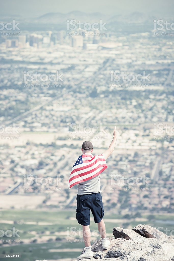 Proud man of Us country on Phoenix city royalty-free stock photo