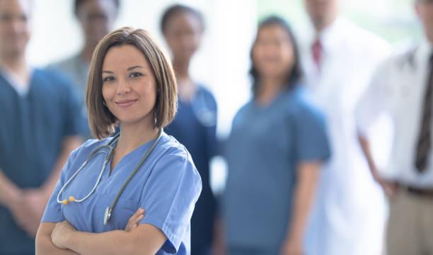 Proud medical team stock photo
