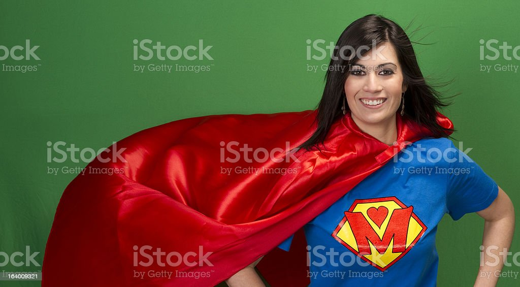 Proud Mom Super Mother Green Screen Ordinary Superhero stock photo