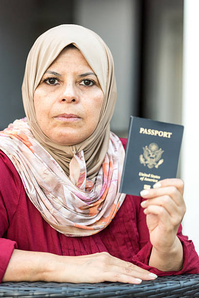Proud muslim american woman stock photo