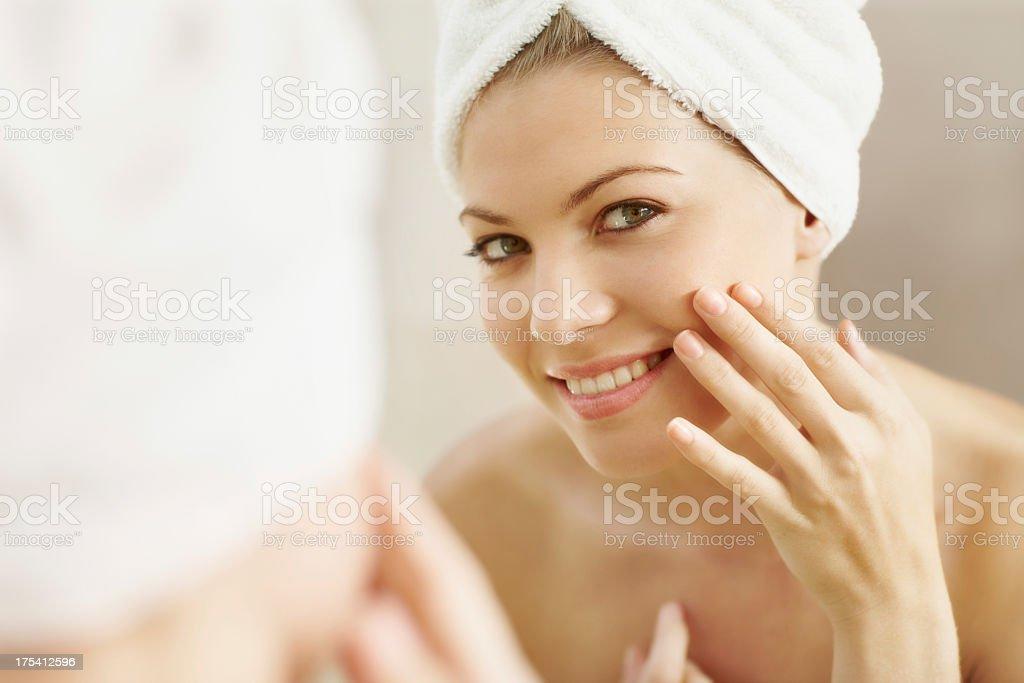 Proud of her beautiful skin stock photo