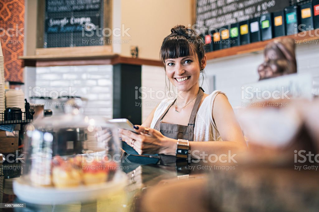 Proud of her business stock photo