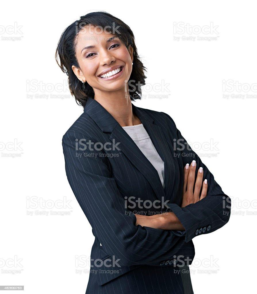 Proud of her corporate acumen stock photo