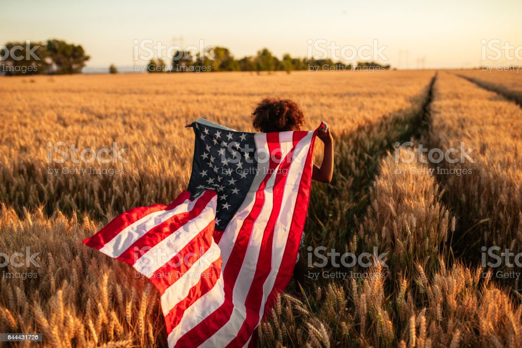 Proud of her country stock photo