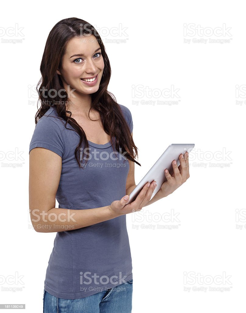 Proud of her new tablet royalty-free stock photo