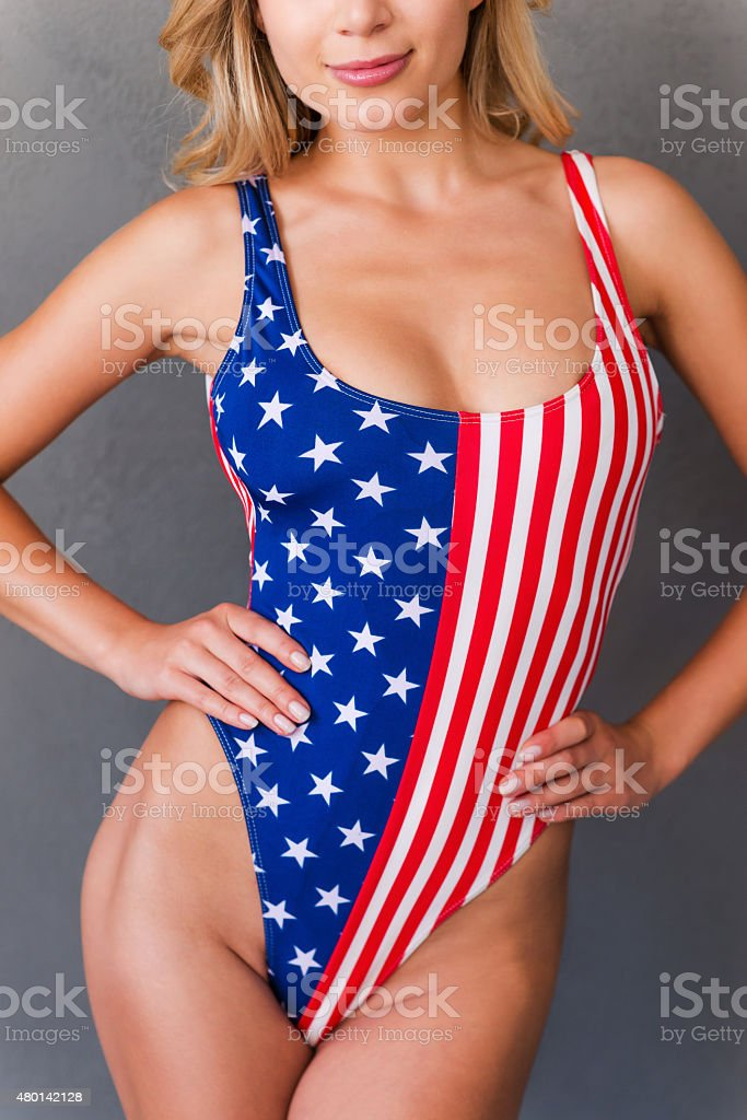 Proud of her perfect curves. stock photo