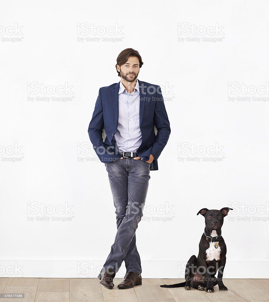 Proud of his canine sidekick stock photo