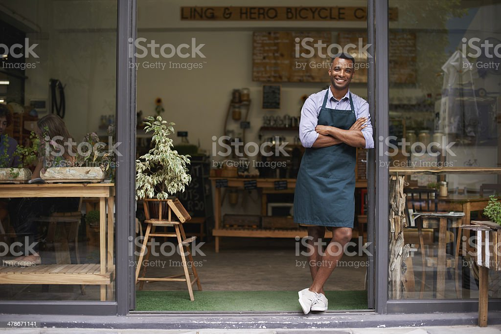 Proud of my shop stock photo