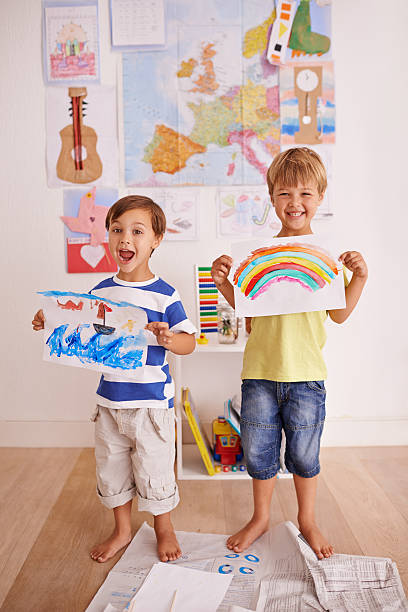 Proud of their artwork stock photo