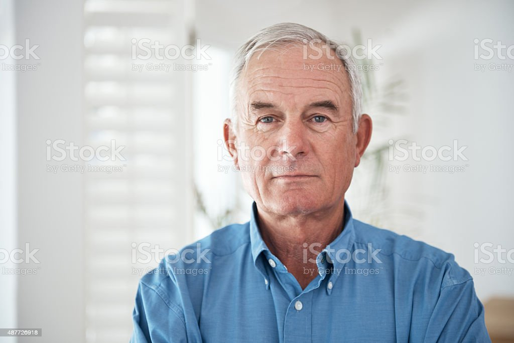 Proud of what he's achieved in his lifetime stock photo