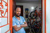 Proud owner of bicycle service workshop