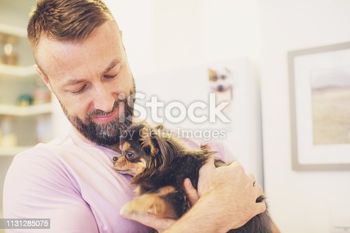 Affection, Home, Simple Living, Pet - Proud Pet Owner with his Chihuahua