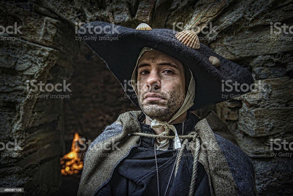 proud pilgrim of the medieval stock photo