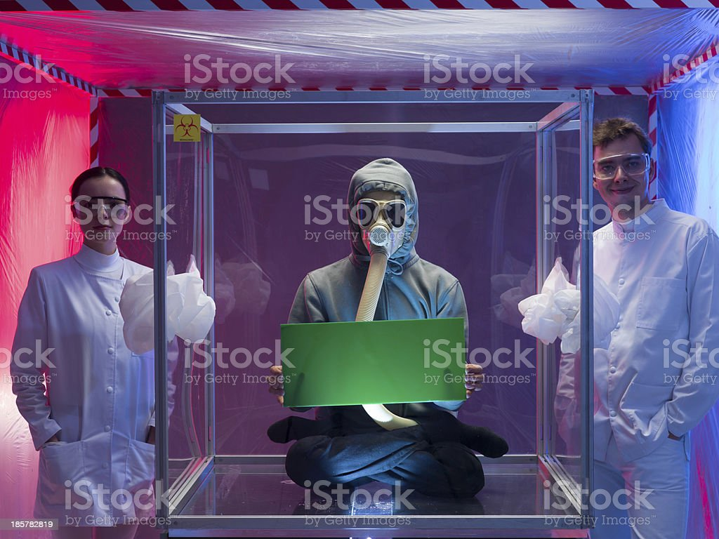 proud scientists and their human subject stock photo