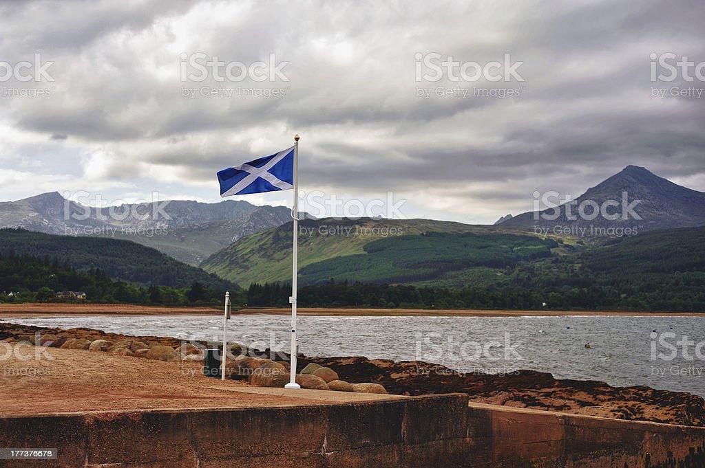 Proud Scottish flag flying on the Isle of Arran stock photo