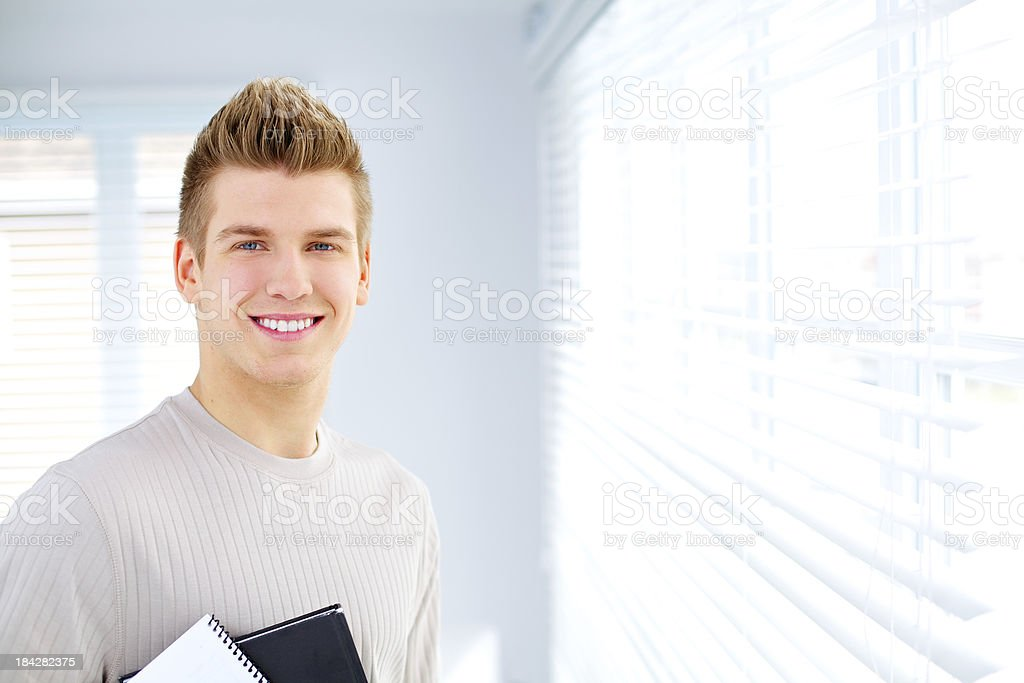 Proud smiling student stock photo