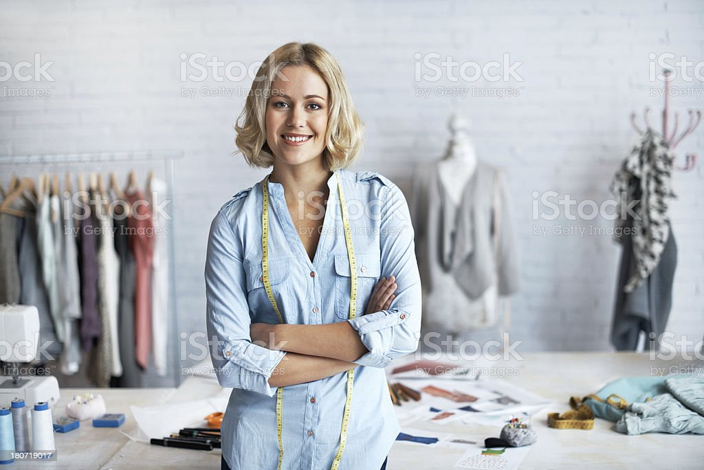 Proud to be a dressmaker stock photo