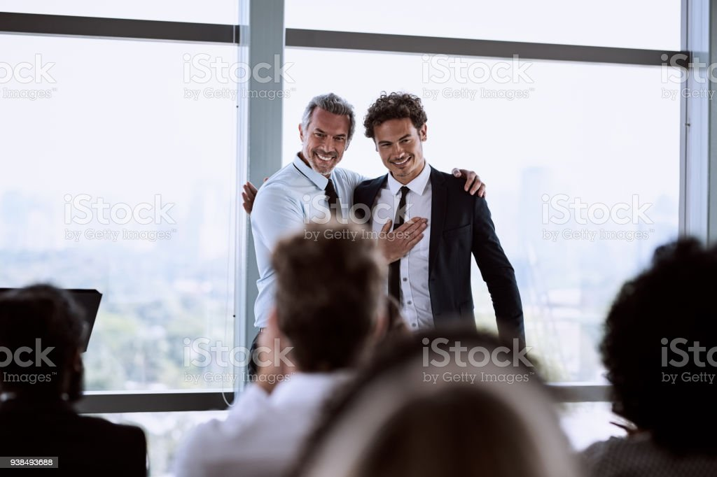 Proud to present our employee of the year stock photo