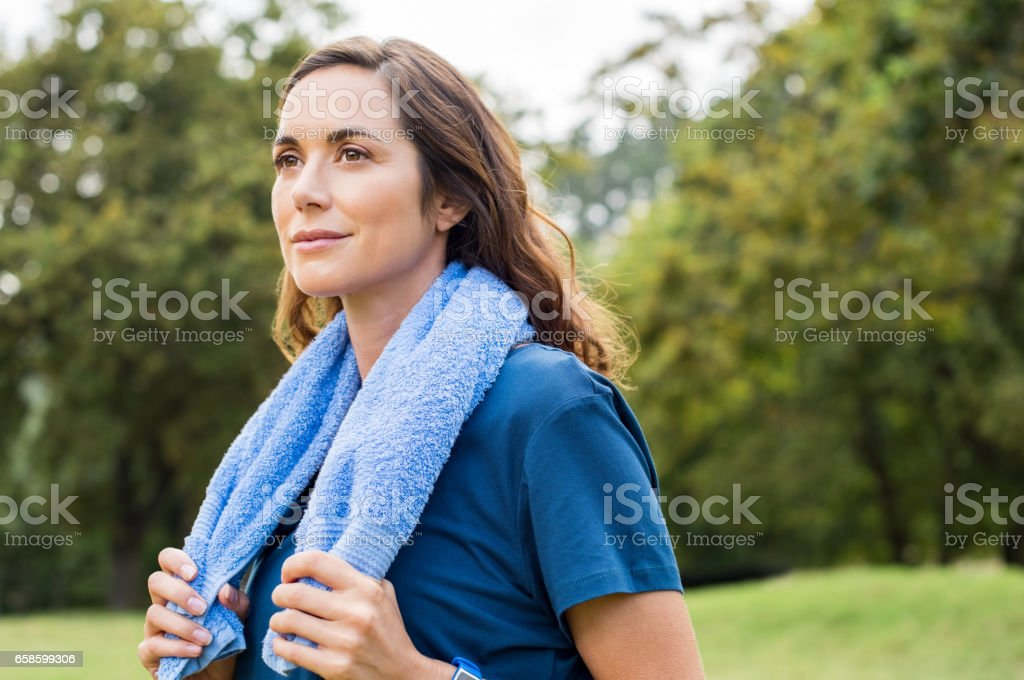 Proud woman after exercise stock photo