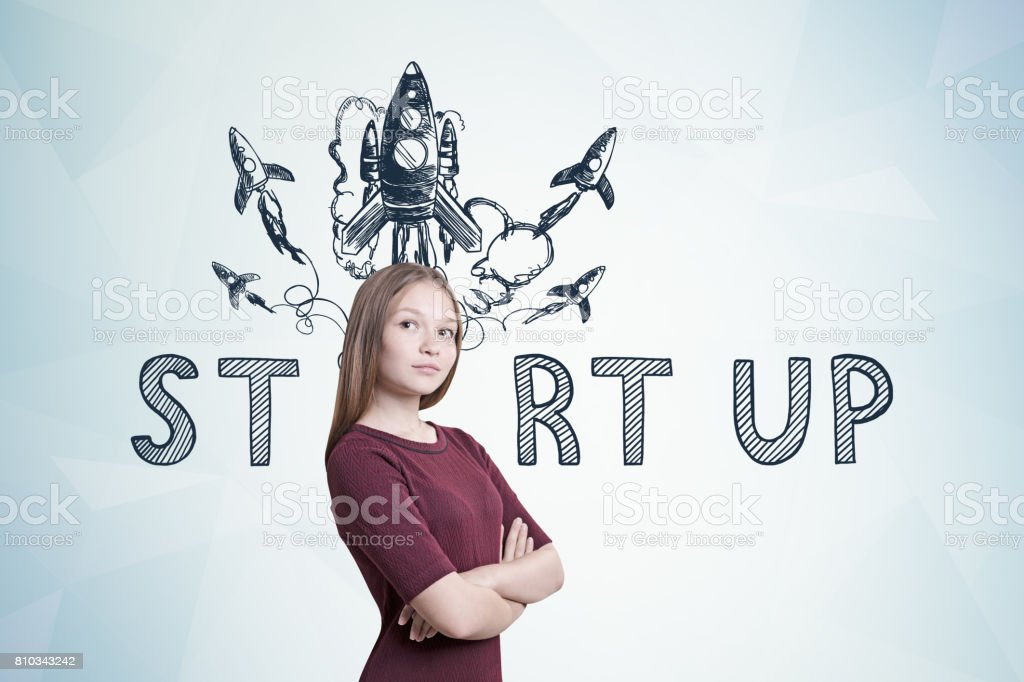 Proud Woman In A Red Dress Startup Rocket Stock Photo More