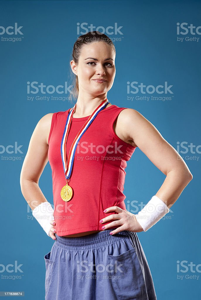 Proud young athlete stock photo