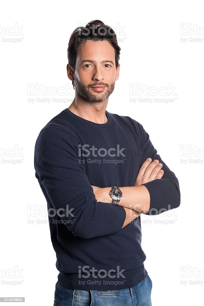 Proud young man stock photo