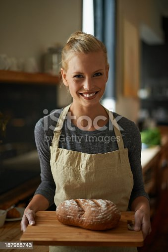 istock Proudly baked with her own hands 187988743