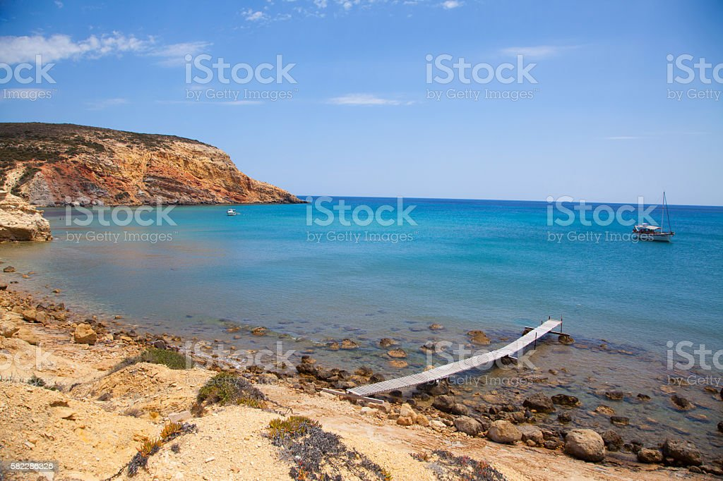 Provatas Bay in Milos, Greece stock photo