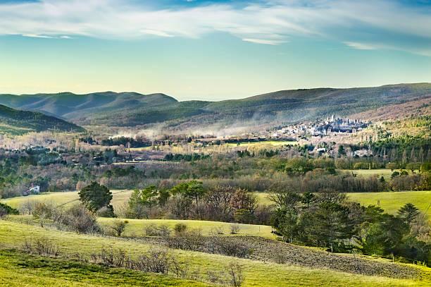 Provencal landscape with medieval village, France stock photo
