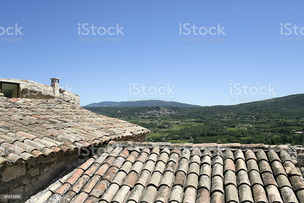 provencal rustic rooftops lacoste royalty-free stock photo