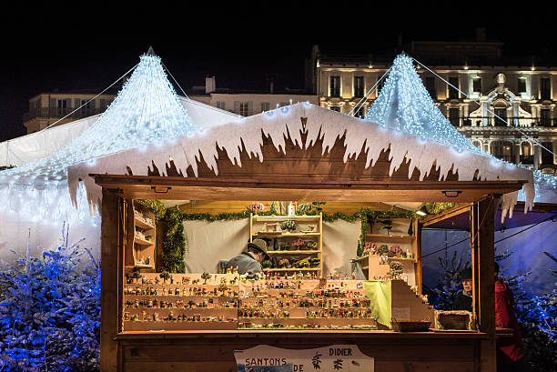 Provencal santon figurines in Christmas market display stock photo