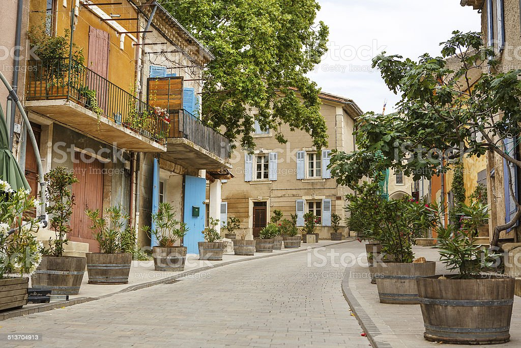 Provencal street with typical houses in southern France, Provenc stock photo