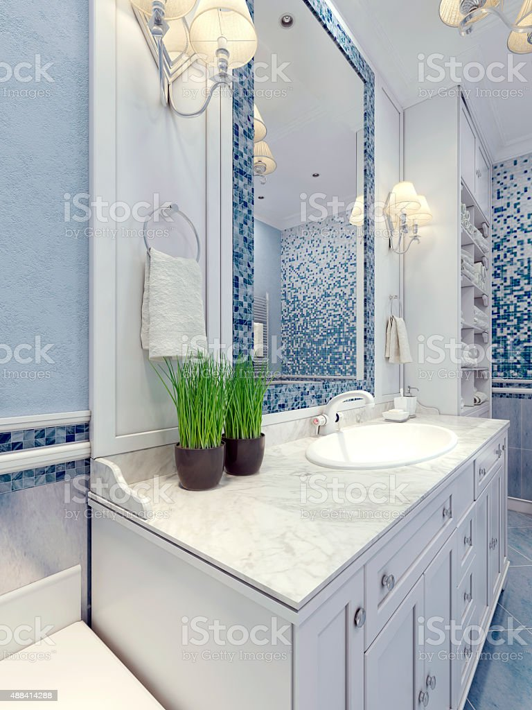 Provence blue bathroom trend stock photo